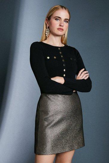Gold Jacquard Metallic A Line Skirt