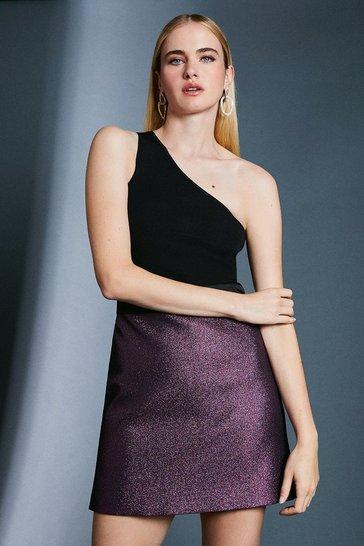 Pink Jacquard Metallic A Line Skirt