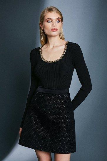 Black Spot Jacquard A Line Skirt