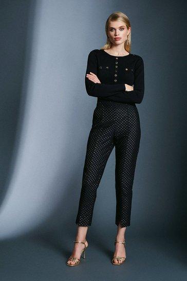 Black Spot Jacquard Trouser