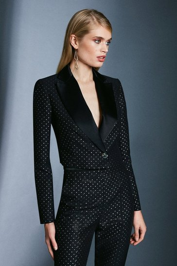 Black Spot Jacquard Cropped Jacket