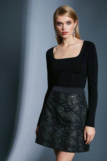 Black Snake Jacquard A Line Skirt