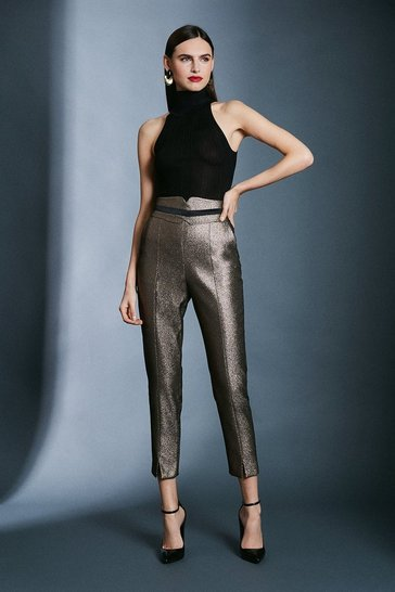 Gold Metallic Jacquard Trousers