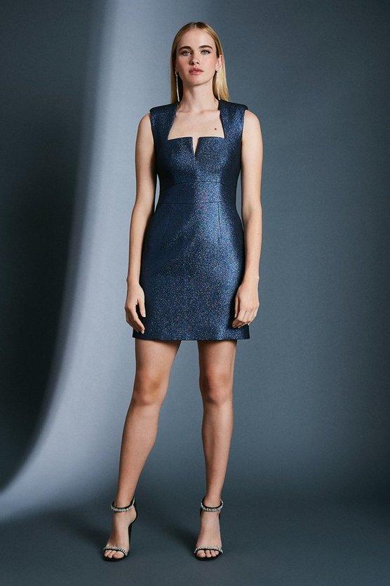 Blue Metallic Jacquard Mini Dress