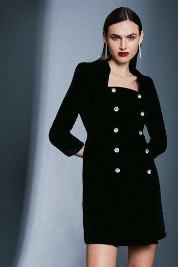 Black Signature Velvet Button Dress