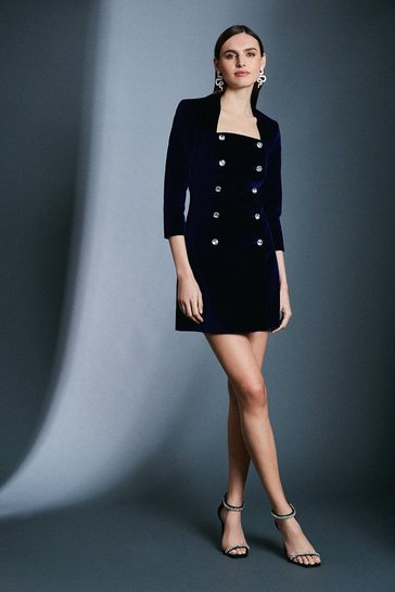 Blue Square Neck Velvet Crystal Button Dress