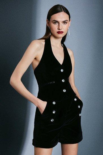 Black Signature Velvet Waistcoat