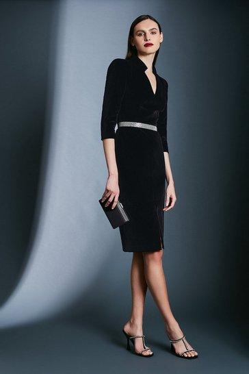 Black Velvet Sleeved Pencil Dress