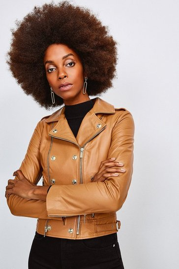 Cashew Military Leather Biker