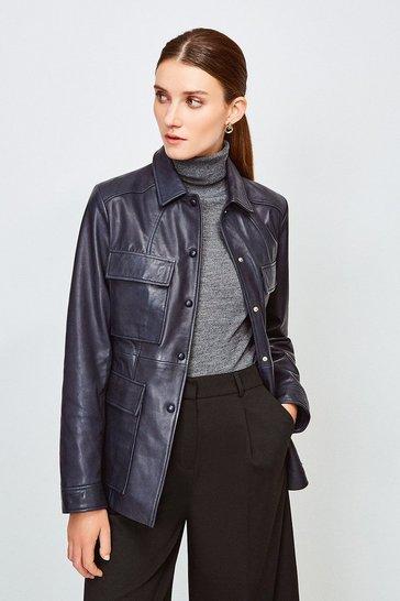Navy Leather belted Safari  Jacket