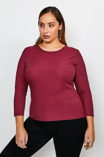 Berry Curve Jersey Rib Top