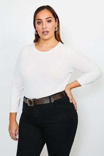 Ivory Curve Jersey Rib Top