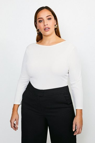 Ivory Curve Jersey Scoop Back Rib Body