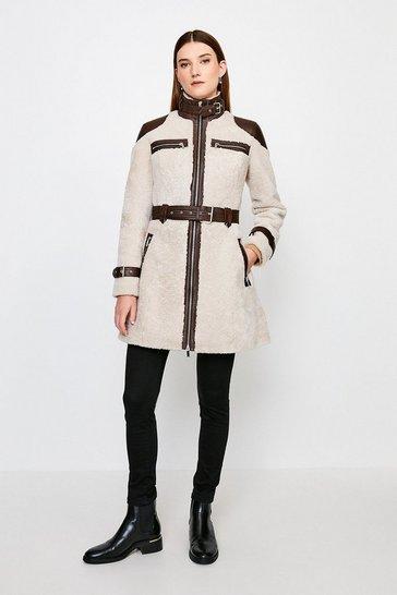 Natural Shearling Contrast Long Coat
