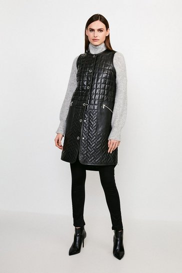 Black Multi Quilted Leather Longline Gilet
