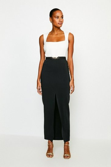 Mono Square Neck Maxi Dress