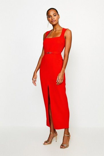 Red Square Neck Maxi Dress