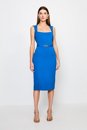Blue Square Neck Pencil Dress