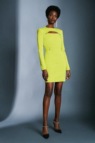 Chartreuse Cutout Long Sleeve Mini Dress