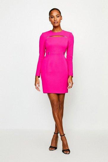Pink Cutout Long Sleeve Mini Dress