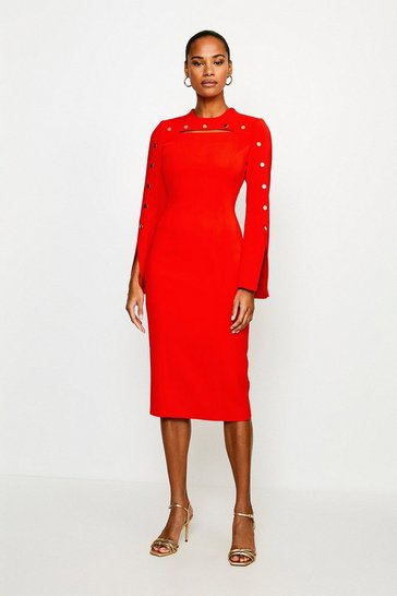 Red Stud Detail Split Sleeve Pencil Dress