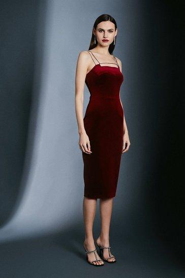 Merlot Italian Stretch Velvet Crystal Strap And Bar Dress