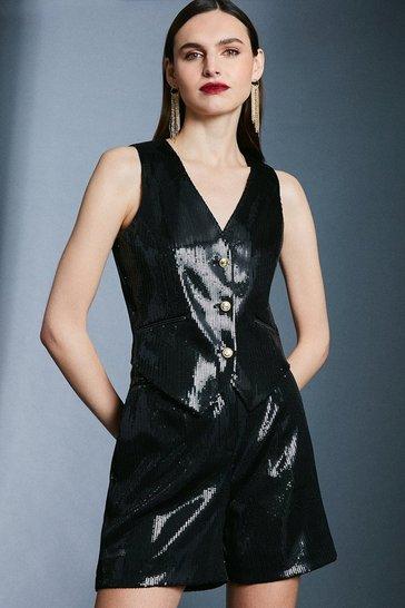 Black Sequin Waistcoat