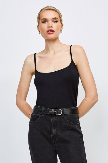 Black Strappy Viscose Jersey Cami