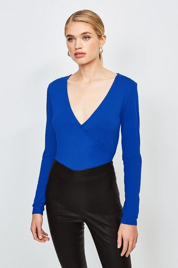 Cobalt Long Sleeve Wrap Viscose Jersey Top