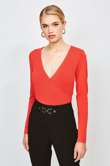 Red Long Sleeve Wrap Jersey Top