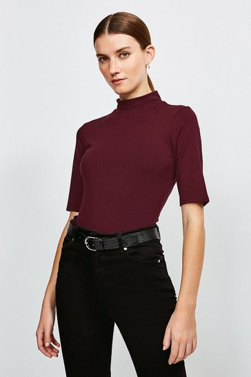 Fig Short Sleeve Funnel Neck Viscose Jersey Top
