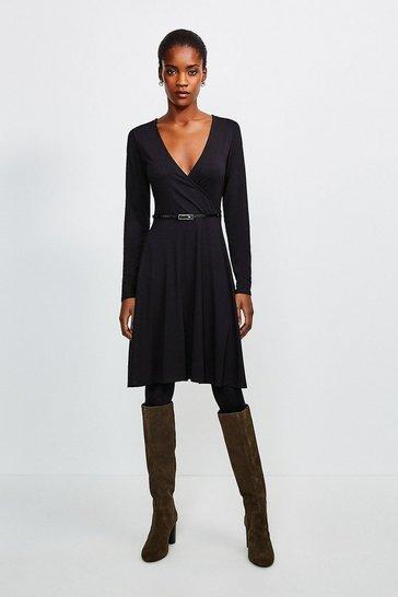 Black Long Sleeve Wrap Viscose Jersey Dress