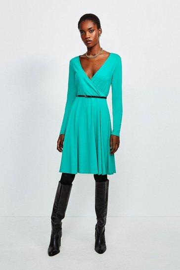 Green Long Sleeve Wrap Viscose Jersey Dress