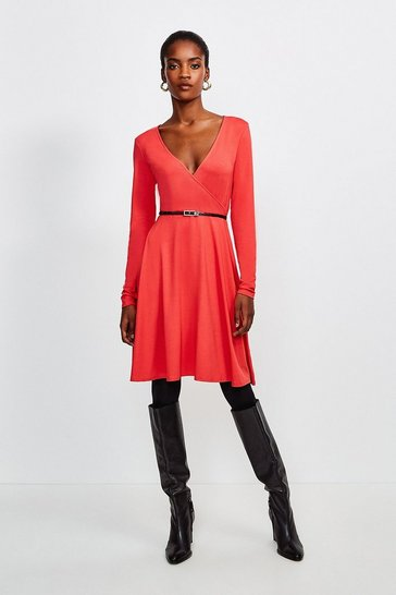 Red Long Sleeve Wrap Viscose Jersey Dress