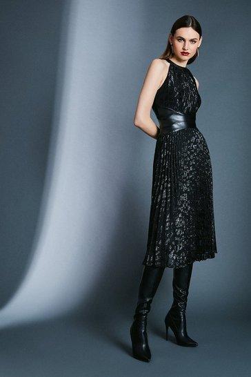 Black Leopard Print Jacquard Dress