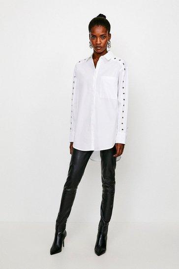 White Eyelet Detail Shirt