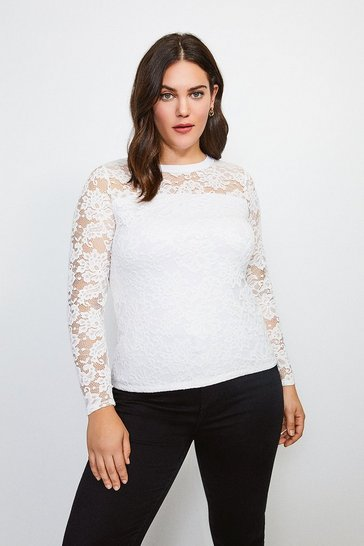 Ivory Curve Lace Long Sleeve Jersey Top