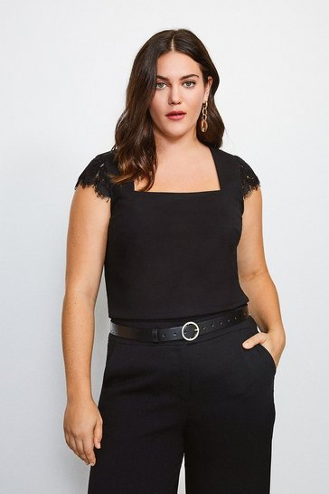 Black Curve Lace Shoulder Square Neck Ponte Top