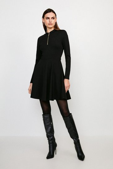 Black Military Zip Ponte Dress