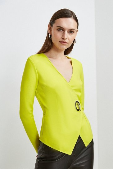 Lime Strong Shoulder Eyelet Ponte Top
