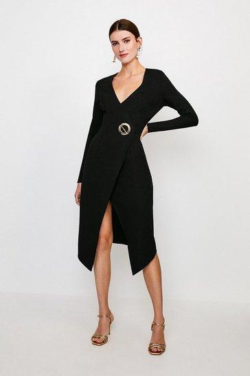Black Strong Shoulder Eyelet Ponte Dress