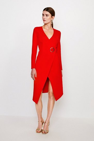Red Strong Shoulder Eyelet Ponte Dress
