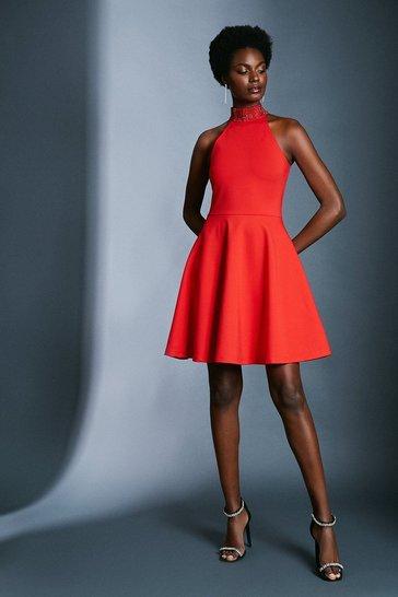 Red Hotfix Halter Ponte Dress