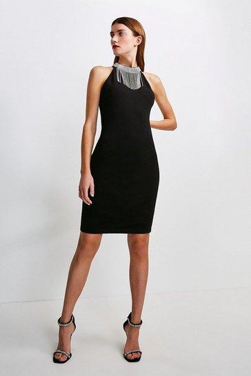 Black Diamante Halter Ponte Dress