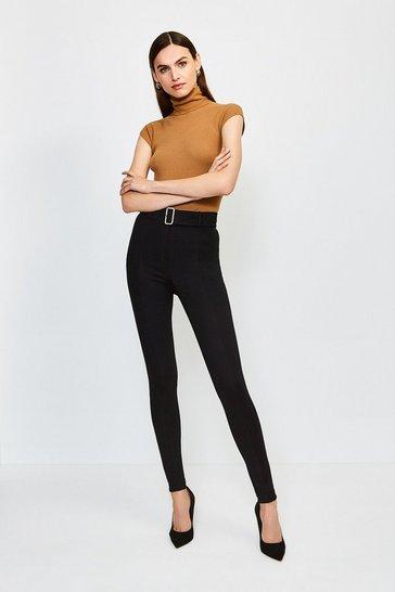 Black Ponte Belted Skinny Trousers