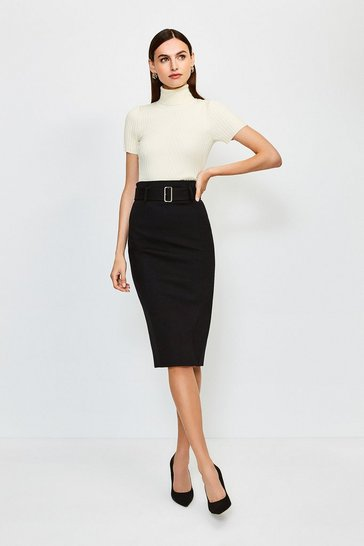 Black Ponte Belted Pencil Skirt