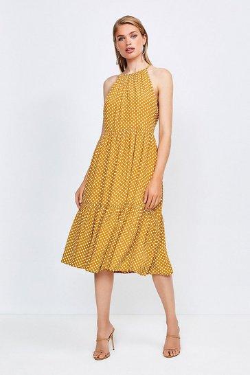 Yellow Spot Print Halter Midi Dress