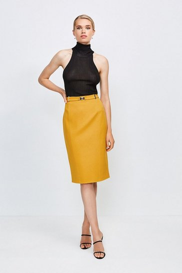 Ochre Forever Cinch Belted Pencil Skirt