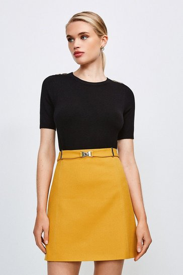Ochre Forever Cinch Belted A Line Skirt