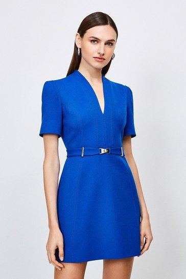 Cobalt Forever Cinch Belted  A Line Dress